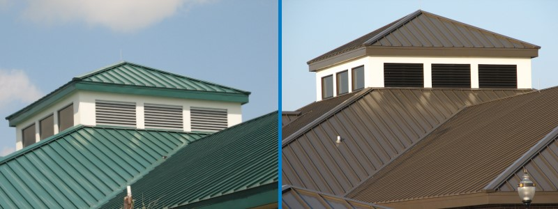 Close up of metal roof for commercial and residential Oklahoma roofs